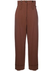Jean Paul Gaultier Vintage High Waist Striped Trousers Brown