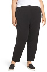 Eileen Fisher Plus Size Women's Tapered Stretch Fleece Knit Pants Black