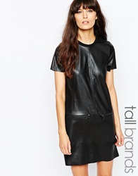 Vero Moda Tall Faux Leather Shirt Dress With Zip Detailing Black