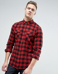Pull And Bear Pullandbear Regular Fit Checked Shirt In Red Red