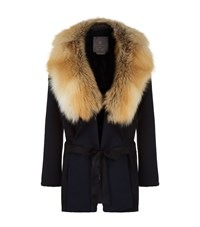 Lilly E Violetta Cashmere Fox Fur Trim Coat Black