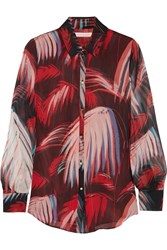 Matthew Williamson Printed Silk Chiffon Shirt Red