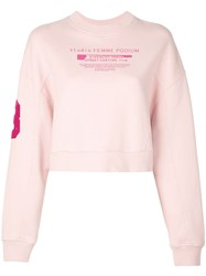Givenchy Logo Print Crew Neck Cropped Sweater Pink