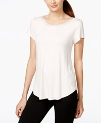 Alfani Petite Satin Trim High Low Tee Only At Macy's Silver Peony
