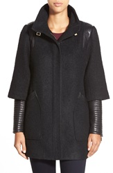 Badgley Mischka 'Coco' Mixed Media Stand Collar Coat Black