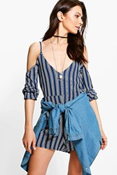 Boohoo Striped Neck Cold Shoulder Playsuit Blue