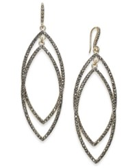 Inc International Concepts Gold Tone Dark Pave Double Drop Earrings Created For Macy's