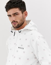 Nicce London Zip Thru Jacket In Logo Print White