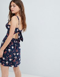 Hollister Tie Back Floral Print Cami Dress Navy Print