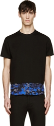 Markus Lupfer Black And Blue Camo Layered T Shirt