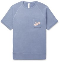 Beams Plus Printed Loopback Cotton Jersey Sweatshirt Blue