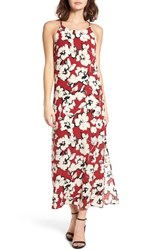 Soprano Women's Floral Print Maxi Dress Red Abstract Floral