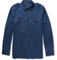 Tom Ford Slim Fit Denim Shirt Blue