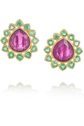 Munnu 22 Karat Gold Emerald And Tourmaline Earrings
