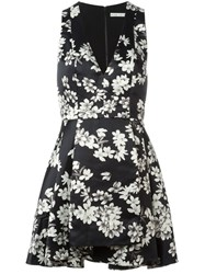 Alice Olivia Alice Olivia Flared Floral Dress Black