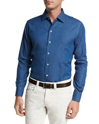 Loro Piana Andre Denim Button Down Shirt
