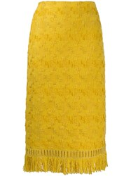 Ermanno Scervino Geometric Embroidery Skirt Yellow