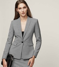Reiss Mason Jacket Houndstooth Single Breasted Blazer In White Womens