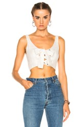 Mara Hoffman Lace Up Bustier Top In White