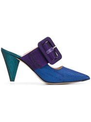 Attico Buckled Strap Mules Blue