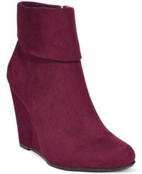 Report Riko Foldover Wedge Booties Women's Shoes Burgundy