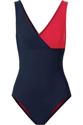 Karla Colletto Helene Wrap Effect Two Tone Swimsuit Navy