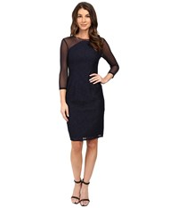 Adrianna Papell Power Mesh And Lace Shift Dress Navy Women's Dress