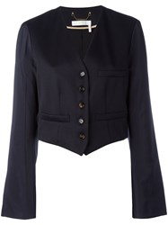 Chloe Cropped Blazer Women Cotton Viscose Virgin Wool 34 Blue