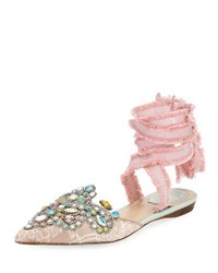 Rene Caovilla Embroidered Flat With Fringed Ribbon Tie Rose