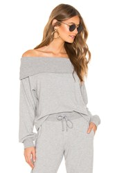1.State Fold Over Off The Shoulder Sweatshirt Gray