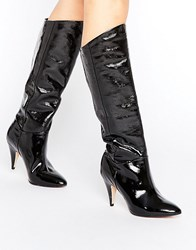 Office Hydra Patent Heeled Knee Boots Black Patent Leather