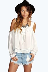 Boohoo Open Shoulder Crochet Trim Peasant Blouse White