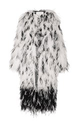 Adam By Adam Lippes Ostrich Feather Embroidered Dalmation Print Coat White