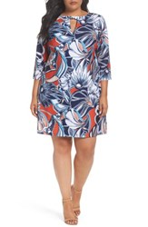 Eci Plus Size Women's Floral A Line Shift Dress Red Blue