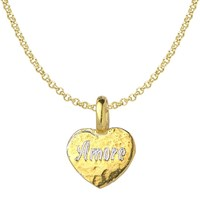 Dower And Hall Engravable Flat Heart Pendant Necklace Gold