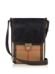 Burberry Checked Canvas And Leather Messenger Bag Black Multi