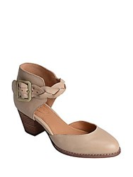 Corso Como Burlap Leather Ankle Strap Pumps Taupe