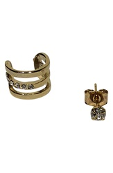 Jules Smith Designs Triple Bar Ear Cuff And Stud Mismatched Earrings Yellow Gold
