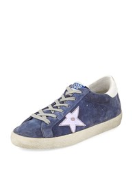 Golden Goose Superstar Suede Platform Low Top Sneaker With Leather Star Denim