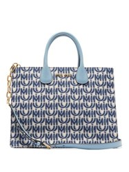 Miu Miu Logo Jacquard Leather Handle Tote Bag Blue White