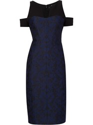 J. Mendel Jacquard Cut Off Shoulders Dress Blue
