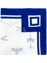 Closed Dragonfly Print Scarf White