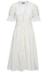 Love Sam Woman Broderie Anglaise Cotton Midi Dress Ivory