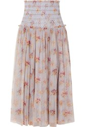 Needle And Thread Think Of Me Shirred Floral Print Tulle Midi Skirt Sky Blue