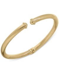 Macy's Twist Ribbed Cuff Bangle Bracelet In 14K Gold
