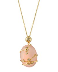 Indulgems Large Pink Chalcedony And Crystal Vine Pendant Necklace Women's