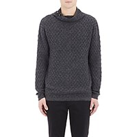 Barneys New York Men's Diamond Knit Mock Turtleneck Sweater Dark Grey