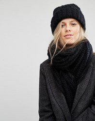 Pieces Knitted Scarf And Beanie Hat Black