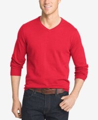 Izod Men's V Neck Sweater Real Red