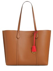 Tory Burch Perry Multicolor Leather Tote Bag Brown